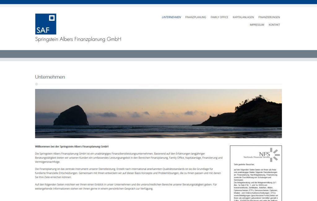 Springstein Albers Finanzplanung GmbH Webseite